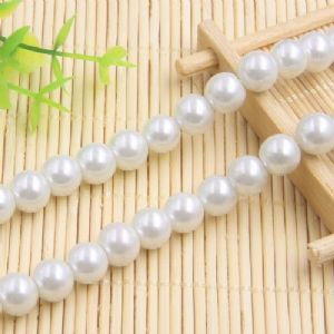 Beads, Glass Imitation pearls, Glass, White , Round shape, Diameter 10mm, 10 Beads, [FZZ0042]